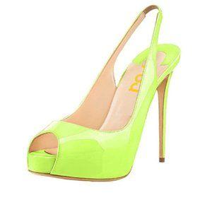 FSJ Peep Toe High Heels Platform Slingback Sandals